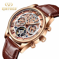 KINYUED 2019 New Mens Top Unique Skeleton design Calendar Display Watch fashion Men Automatic Mechanical Watch Relogio Masculino