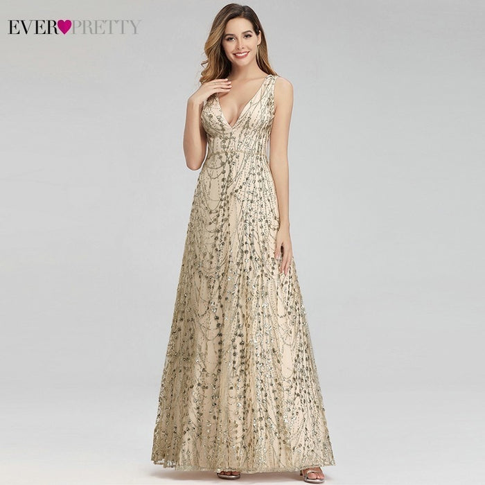 Sexy Gold Dubai Evening Dresses Ever Pretty EP00985GD A-Line V-Neck Sequined Elegant Formal Dresses