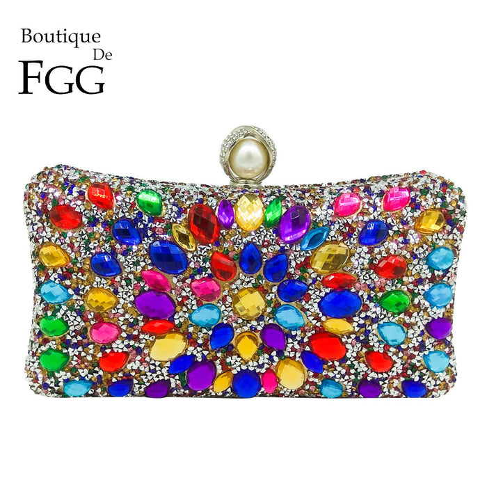 Boutique De FGG Multi Color Crystal Women Pearl Beaded Black Evening Metal Clutches Bag