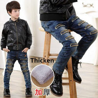 3 4 5 6 7 8 9 10 11 12 Years Children Jeans For Boys Clothing Winter Kids Clothes Teenage Boys Casual Trousers Denim Hole Jeans