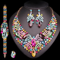 Luxurious Leaves Bridal Jewelry Sets Wedding Statement Necklace Earrings set for Brides Party Costume Accessories Gift for Women