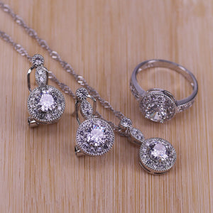 New Fashion Round White Cubic Zirconia 925 Sterling Silver Wedding Jewelry Sets Earrings Pendant Necklace Rings Size 6-10
