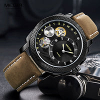 MEGIR Mens Automatic Mechanical Fashion Top Brand Sports Watches Tourbillon Moon Phase Stainless Steel Watch Relogio Masculino