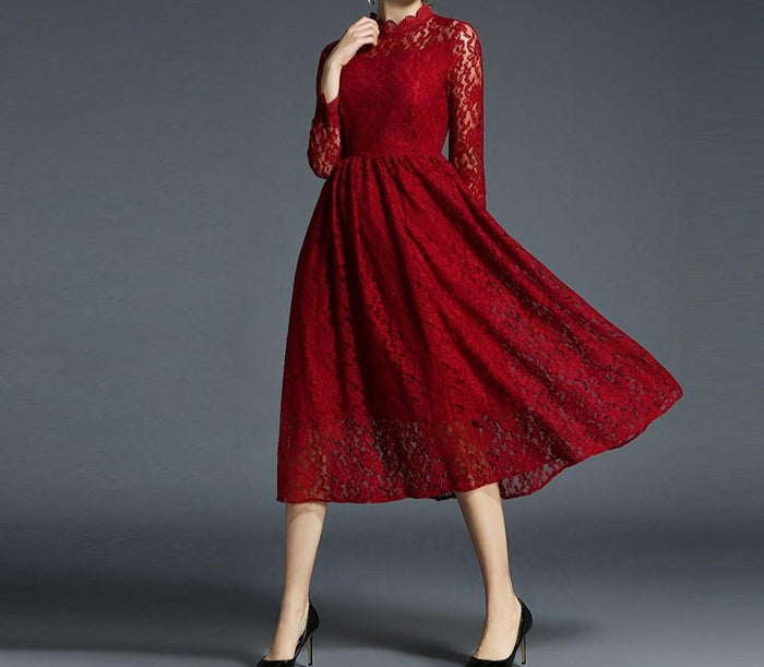 Solid Wine Red Woman Lace Dress Full Sleeve A-Line Party Dresses Women Hollow-Out Female
