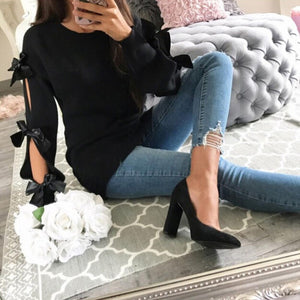 Women Casual Solid Bow Tie Pullover Loose Sweater Jumper Tops Knitwear Women's Solid Color Lace Knot Knit Sweater 2019