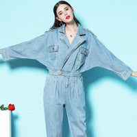 Nordic Winds 2018 autumn new style jumpsuit woman denim shorts casual top v-neck blue jumpsui