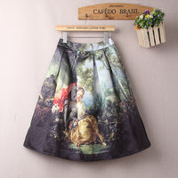 Women Vintage Elastic Waist Skirt Knee Length Retro Oil Painting Skirts Girl High Waist Pleated Skater Skirt