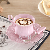 Elegant Pink Coffee Cup Saucer Spoon Set Europe Princess Ceramic Tea cup 180ml Top Porcelain Teacup Cafe Teatime Drinkware