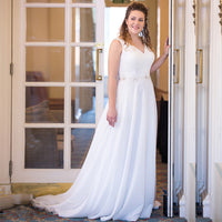 2019 Plus Size Wedding Dress V-neck Beading Applique Chiffon Beach Bride Dresses Wedding Gowns Robe De Mariage Custom