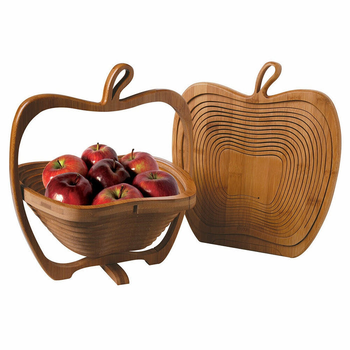 Foldable Kitchen Fruits Vegetable Storage Basket Holder Bamboo Storage Basket Folding Fruit