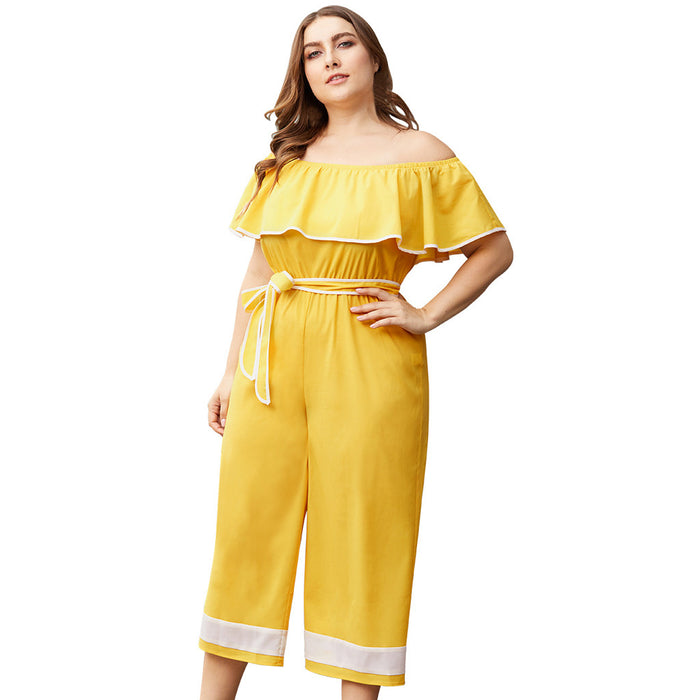 Women's Plus Size Ruffled Slash Neck Sling Contrast Color Wide Leg Jumpsuit Rompers Womens