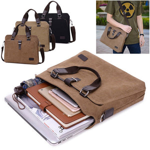 Universal Laptop Bag Men Canvas Briefcase Office Travel Messenger Shoulder Bag Portable Notebook Handbag Large-capacity Pouch