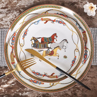 Luxury War Horse Bone China Dinnerware Set Royal Feast Jingdezhen Porcelain Western Plate Dish Home Decoration Wedding Gifts