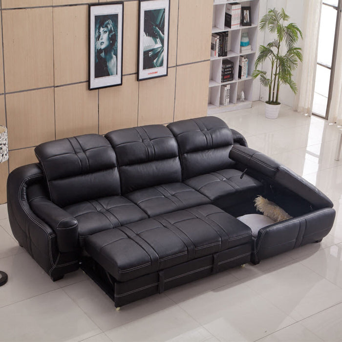 Living Room Sofa set furniture real genuine cow leather sofas bed recliner puff asiento
