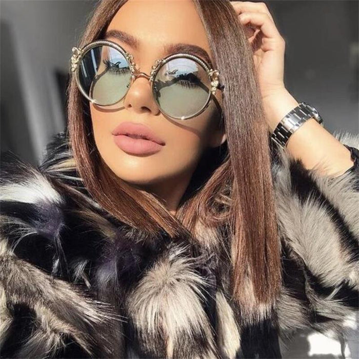 Round Vintage Designer Fashion Sunglasses Gradient Lens Summer Shades Luxury Brand Gradient