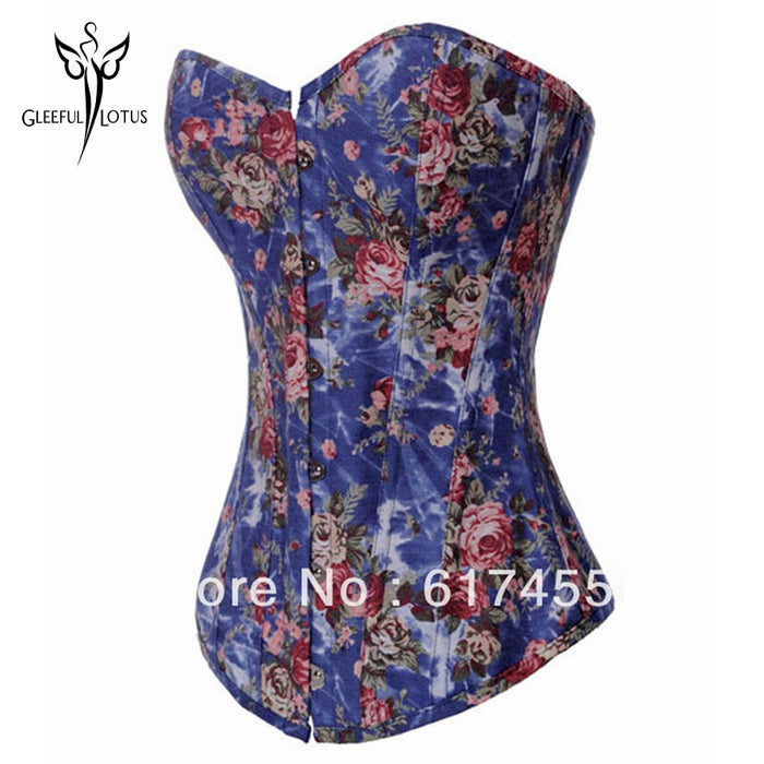 Modeling Strap Blue Corset Overbust Waist Trainers Shapewear Fajas Reductoras Cinta Slimming