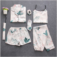 7 Pieces Womens Silk Satin Pajamas Sets Pyjamas Set Sleepwear Pijama Pajamas Suit Female Sleep