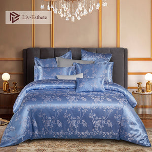 Liv-Esthete Euro Jacquard Palace Luxury Bedding Set Double Adult Bedspread Flat Sheet Decorative Bed Linen Set Home Textile