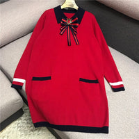 Luxury Designer Brand Knitted Dress for Women Runway Vintage Peter Pan Collar Diamond Bow Striped Contrast Loose Knitted Dress