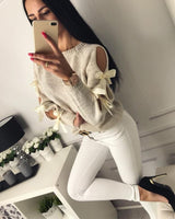 2018 Women Solid Loose Long Sleeve Blouse Oversize Jumper Shirt Tops