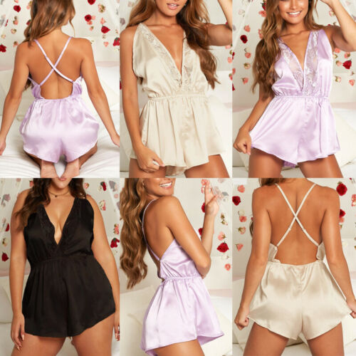 2019 New Fashion Hot Sexy Charming Lingerie Women Silk Lace V-neck Robe Dress Babydoll
