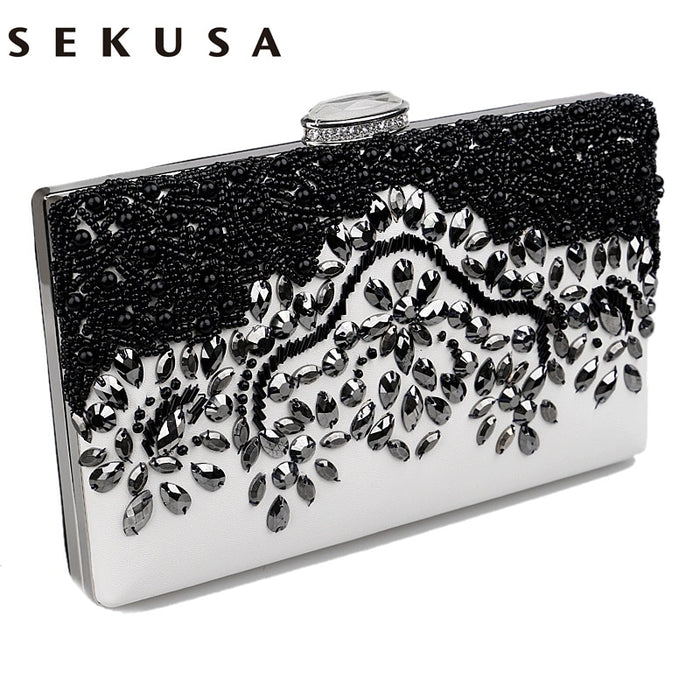 SEKUSA Pu Women Messenger Chain Shoulder Handbags Beaded Handmade Style Metalr