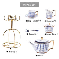 Nordic Bone China Coffee Set Gold Inlay Porcelain Tea Set Luxury Pot Cup Advanced