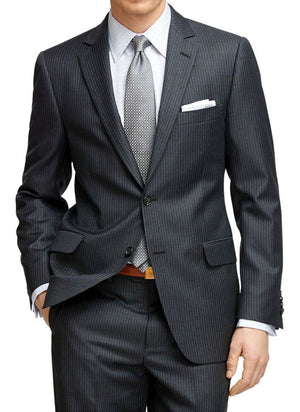 Mens Pinstripe Suit Custom Made Charcoal Grey  Mens Striped Suit