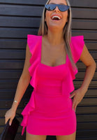 OMSJ 2019 New Beach Style 3 Colors Women Summer Dress Neon Pink Green Orange