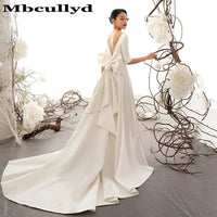 Mbcullyd Glamorous Backless A-Line Wedding Dresses 2019 Half Sleeves Formal Bridal Dress For Women Fashionable Vestido de Noiva