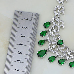 925 Silver Color Bridal Jewelry Water Drop Green Cubic Zirconia White Crystal For Women Wedding Earrings Pendant Necklace