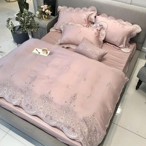 Tencel Silk Pink Luxury Bedding Set Queen king size Duvet Cover Flat/Bed sheet set Bed cover