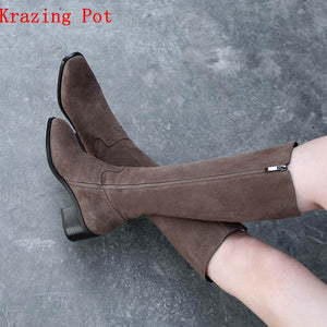 Krazing Pot 2019 cow suede full grain leather motorcycle handmade slip on med heels round toe Chelsea riding mid-calf boots L3f1