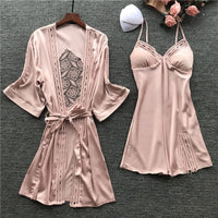 Women Satin Lace Pink Intimate Sleepwear Set 2PCS Nightgown Sexy Lady New Robe Set Brides Bridesmaid Wedding Robe Gown M-XL