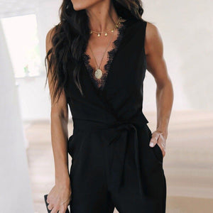 Plain Black High Waist Jumpsuits Women Summer V Neck Tapered Jumpsuit Crossover Lace Pockets Elegant Jumpsuit