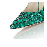 Green Crystal Snake pattern heel Women Pumps Pointy Toe Banquet Wedding Fashion Shoes Rhinestone High Heel Shoes Women Luxury