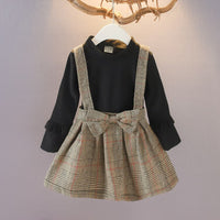 Casual Girl plaid Dress Autumn winter  bow Princess  Dress Long Sleeve Cotton Children kids dresses
