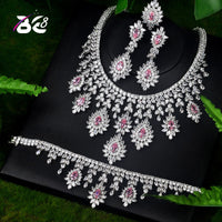 Be 8 Brilliant crystal AAA CZ Queen Women Jewelrt Sets Bridal Fashion Jewelry Wedding Party Necklace Set parure bijoux femmeS071