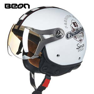 BEON Motorcycle vintage Helmet 3/4 face moto Helmet Casco capacete four seasons for Motorcycle Helmets