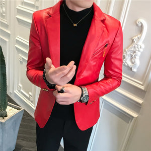 Faux Leather Suit Jacket Men Korean Slim Fit Coat Blazer Men White Red Black Fashion Streetwear