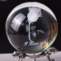 6cm Crystal Ball 3D Laser Rose Figurines Feng Shui Glass Ball Metal base Craft Home Decoration Accessories 1 Set Gifts Desktop