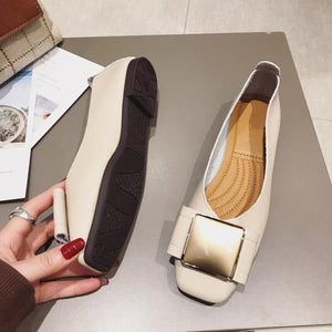 Luxury Women Shoes Office Ladies Flats Elegant Fashion Brand Slip on Shoes for Women Flats Plus Size 41 Black Beige TK001