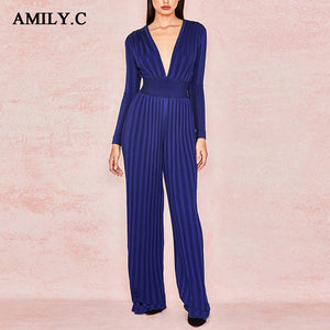 Amily.c Women's jumpsuit 2019 spring new long-sleeved V-neck dark blue bandage jumpsuit ladies party sexy tight long jumpsuit
