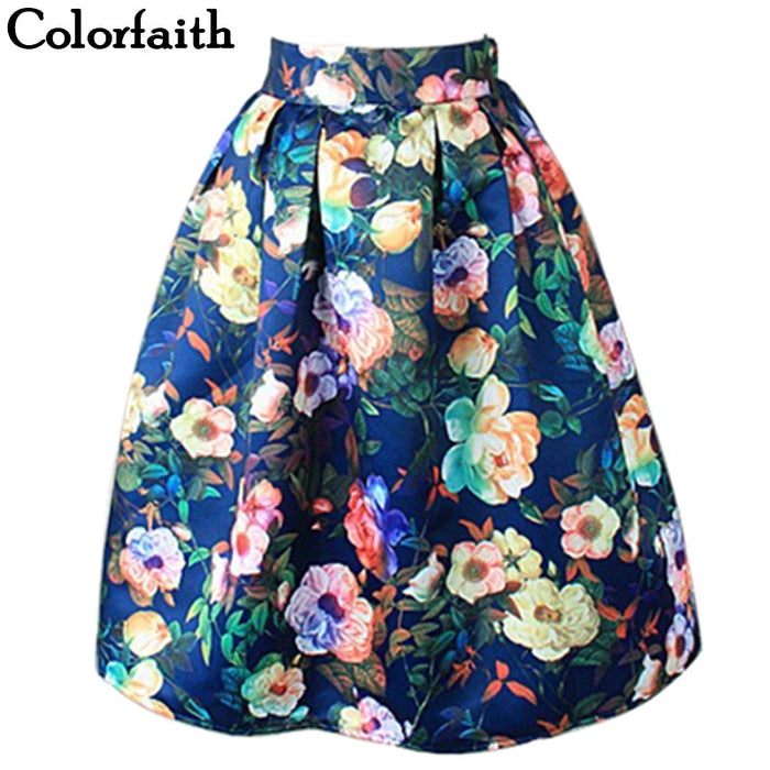 Women Midi Pleated Skirts Vintage Floral Printed Ball Gown High Waist Flared Knee Length
