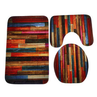 Toilet Cover Seat 3PCS  Colorful Wood Floor Toilet Foot Pad Seat Cover Radiator Cap Bathroom Accessories Sets Home Decor #35