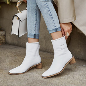 ZVQ brand leather women's shoes winter plush High quality classic 5cm heels ankle boots fashion office yellow Square toe booties