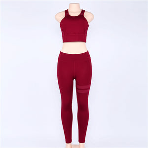 Girls Tracksuit TWO PIECE SET Tank Top Vest Outfit Run Fitness Sportsuit Women Clothing Sporty