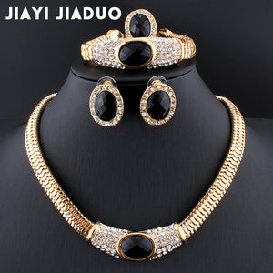jiayijiaduo Hot wedding dress accessories black crystal necklace earrings gold color beaded jewellery sets new African women