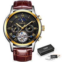 2019 LIGE Men's Watch Brand Luxury Automatic Auto Date Clock Men Full Steel Business Waterproof