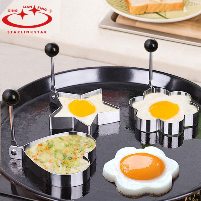 4pcs/lot Egg Mold Stainless Steel Round Flower Heart egg pancake Ring Biscuit Frying Egg Rings